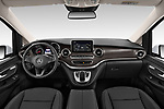 Stock photo of straight dashboard view of a 2020 Mercedes Benz V-class Avantgarde 5 Door Mini Van