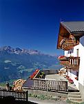 Italy, South-Tyrol, Alto Adige, Vinschgau (Val Venosta), view across Val Venosta from hill farm Unterkaserhof   Italien, Suedtirol, Blick ueber den Vinschgau vom Unterkaserhof