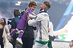 Real Madrid Sergio Ramos playing with his kid during the celebration of the 13th UEFA Championship at Santiago Bernabeu Stadium in Madrid, June 04, 2017. Spain.<br /> (ALTERPHOTOS/BorjaB.Hojas)