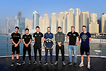 Top Riders press conference for the UAE Tour 2020 held at<br /> Blue Water Bridge Jumeirah Beach Residence, Dubai, L-R - Mark Cavendish (GBR), Caleb Ewan (AUS), Tadej Pogacar (SLO), Alejandro Valverde (ESP), Wilco Kelderman (NED), Pascal Ackermann (GER) and Sam Bennett (IRL). 22nd February 2020.<br /> Picture: LaPresse/Fabio Ferrari | Cyclefile<br /> <br /> All photos usage must carry mandatory copyright credit (© Cyclefile | LaPresse/Fabio Ferrari)