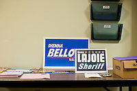 Campaign materials for Shenna Bellows campaign lay on a table at the Kittery Democrats town caucus in the Town Hall Council Chambers in Kittery, Maine, USA, on March 3, 2014. Bellows is trying to unseat incumbent Maine Republican Senator Susan Collins in the 2014 election. The town caucus had speeches from various other local candidates and also served to choose delegates for the 2014 Maine State Democratic Caucus.
