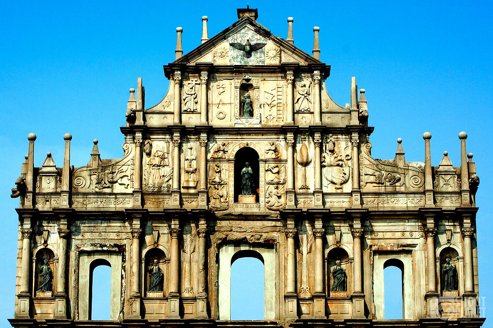 Beautiful façade of the Saint Paul cathedral ruins under a blue morning sky in Macao, China