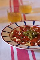 """Europe/France/Aquitaine/64/Pyrénées-Atlantiques/ Espelette :Assiette de Piment d'Espelette AOC - recette d'  André Darraidou chef de l' Hotel-Restaurant """"Euzkadi"""""""
