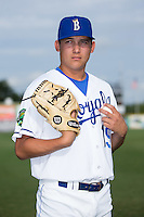 Burlington Royals pitcher Garrett Davila (19) poses for a photo prior to the game against the bj\ at Burlington Athletic Stadium on June 28, 2016 in Burlington, North Carolina.  The Royals defeated the Blue Jays 4-0.  (Brian Westerholt/Four Seam Images)