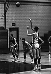 Bethel Park PA:  John Klein 44 shooting a foul shot during a basketball game against the Mt Lebanon Blue Devils at Bethel Park Gymnasium.  Bruce Evanovich in the background.  The JV Team was coached by Mr. Reno and the Bethel Park JVs won the Section Championship.  The team included; Scott Streiner, Steve Zemba, John Klein, Mike Stewart, Bruce Evanovich, Jeff Blosel, and Tim Sullivan.