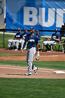 Jonathan Oquendo (13) of the Helena Brewers throws to the infield between innings during the game against the Ogden Raptors in Pioneer League action at Lindquist Field on July 16, 2016 in Ogden, Utah. Ogden defeated Helena 5-4. (Stephen Smith/Four Seam Images)