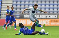 Blackburn Rovers' Adam Armstrong is tackled by Wigan Athletic's Cedric Kipre<br /> <br /> Photographer Dave Howarth/CameraSport<br /> <br /> The EFL Sky Bet Championship - Wigan Athletic v Blackburn Rovers - Saturday 27th June 2020 - DW Stadium - Wigan<br /> <br /> World Copyright © 2020 CameraSport. All rights reserved. 43 Linden Ave. Countesthorpe. Leicester. England. LE8 5PG - Tel: +44 (0) 116 277 4147 - admin@camerasport.com - www.camerasport.com