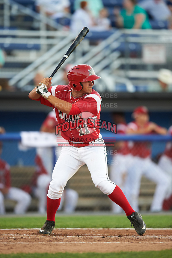 Batavia Muckdogs second baseman Mike Garzillo (11) at bat during a game against the Aberdeen Ironbirds on July 14, 2016 at Dwyer Stadium in Batavia, New York.  Aberdeen defeated Batavia 8-2. (Mike Janes/Four Seam Images)