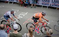 Koen de Kort (NED/Trek-Segafredo) & Adam Blythe (GBR/Aqua Blue Sport) up Salmon Hill<br /> <br /> Men Elite Road Race<br /> <br /> UCI 2017 Road World Championships - Bergen/Norway