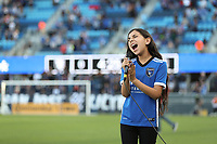 SAN JOSE, CA - JULY 24: National anthem singer before a game between Houston Dynamo and San Jose Earthquakes at PayPal Park on July 24, 2021 in San Jose, California.