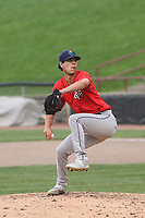 Cedar Rapids Kernels relief pitcher Derek Molina (23) throws a pitch during a game against the Wisconsin Timber Rattlers on September 8, 2021 at Neuroscience Group Field at Fox Cities Stadium in Grand Chute, Wisconsin.  (Brad Krause/Four Seam Images)