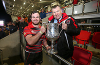 Friday 8th February 2019 | First Trust Ulster Senior Cup Final<br /> <br /> Armagh captain Christopher Colvin receives the First Trust Ulster Senior Cup Ffrom Ulster Branch Senior Vice President Gary Leslie after his side defeated Ballymena in the final at Kingspan Stadium, Ravenhill Park, Belfast, Northern Ireland. Photo by John Dickson / DICKSONDIGITAL