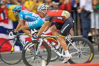 Radioshack cyclist, Sergio Paulinho, rides amongst the peleton in Paris, France