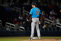 Miami Marlins pitcher John Curtiss (39) during a Major League Spring Training game against the Washington Nationals on March 20, 2021 at FITTEAM Ballpark of the Palm Beaches in Palm Beach, Florida.  (Mike Janes/Four Seam Images)