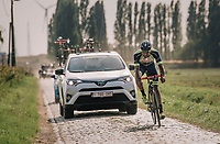 "Guillaume Van Keirsbulck (BEL/Wanty-Groupe Gobert) on his way to an impressive solo victory over the cobbles<br /> <br /> Antwerp Port Epic 2018 (formerly ""Schaal Sels"")<br /> One Day Race:  Antwerp > Antwerp (207 km; of which 32km are cobbles & 30km is gravel/off-road!)"