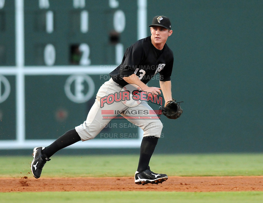 Infielder Robbie Shields (13) of the Savannah Sand Gnats in Game 1 of the South Atlantic League Southern Division Championship against the Greenville Drive on Sept. 8, 2010, at Fluor Field at the West End in Greenville, S.C. Photo by: Tom Priddy/Four Seam Images