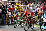 The start of Stage 3 of the 2019 Tour de France running 215km from Binche, Belgium to Epernay, France. 8th July 2019.<br /> Picture: Colin Flockton | Cyclefile<br /> All photos usage must carry mandatory copyright credit (© Cyclefile | Colin Flockton)