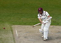 16th April 2021; Emirates Old Trafford, Manchester, Lancashire, England; English County Cricket, Lancashire versus Northants; Simon Kerrigan of Northamptonshire at bat