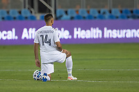 SAN JOSE, CA - OCTOBER 03: Javier Hernandez #14 of the LA Galaxy takes a knee during a game between Los Angeles Galaxy and San Jose Earthquakes at Earthquakes Stadium on October 03, 2020 in San Jose, California.