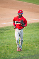 Orem Owlz center fielder D'Shawn Knowles (4) jogs off the field between innings of a Pioneer League game against the Missoula Osprey at Ogren Park Allegiance Field on August 19, 2018 in Missoula, Montana. The Missoula Osprey defeated the Orem Owlz by a score of 8-0. (Zachary Lucy/Four Seam Images)