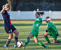 20131211 - HENIN-BEAUMONT , France :  PSG's Lindsey Horan (left) pictured in a duel with Henin's  Marine Dafeurduring the female soccer match between FC Henin Beaumont and Paris Saint-Germain Feminin , of the Ninth matchday in the French First Female Division . Wednesday 11 December 2013. PHOTO DAVID CATRY