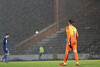Josh Lillis (Rochdale AFC) in the rain during the Sky Bet League 1 match between Rochdale and Plymouth Argyle at Spotland Stadium, Rochdale, England on 15 December 2018. Photo by James  Gill / PRiME Media Images.