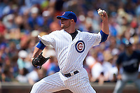 Chicago Cubs pitcher Jon Lester (34) delivers a pitch during a game against the Milwaukee Brewers on August 13, 2015 at Wrigley Field in Chicago, Illinois.  Chicago defeated Milwaukee 9-2.  (Mike Janes/Four Seam Images)