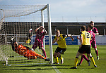 Arbroath 0 Edinburgh City 1, 15/03/2017. Gayfield Park, SPFL League 2. Defender Ryan Porteous turns away in celebration after netting his team's injury-time winner at Gayfield Park as Arbroath hosted Edinburgh City (in yellow) in an SPFL League 2 fixture. The newly-promoted side from the Capital were looking to secure their place in SPFL League 2 after promotion from the Lowland League the previous season. They won the match 1-0 with an injury time goal watched by 775 spectators to keep them 4 points clear of bottom spot with three further games to play. Photo by Colin McPherson.