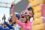 Race leader Maglia Rosa Joao Almeida (POR) Deceuninck-Quick Step at sign on before the start of Stage 9 of the 103rd edition of the Giro d'Italia 2020 running 208km from San Salvo to Roccaraso (Aremogna), Sicily, Italy. 11th October 2020.  <br /> Picture: LaPresse/Massimo Paolone   Cyclefile<br /> <br /> All photos usage must carry mandatory copyright credit (© Cyclefile   LaPresse/Massimo Paolone)