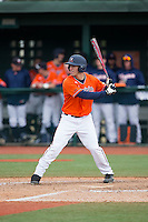Adam Haseley (7) of the Virginia Cavaliers at bat against the Seton Hall Pirates at The Ripken Experience on February 28, 2015 in Myrtle Beach, South Carolina.  The Cavaliers defeated the Pirates 4-1.  (Brian Westerholt/Four Seam Images)
