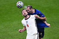 11th July 2021; Wembley Stadium, London, England; 2020 European Football Championships Final England versus Italy; Harry Kane and Giorgio Chiellini challenge for a header