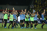 BUCARAMANGA - COLOMBIA, 09-02-2020: Jugadores  de Uruguay celebran después del partido entre Colombia U-23 y Uruguay U-23 por el cuadrangular final como parte del torneo CONMEBOL Preolímpico Colombia 2020 jugado en el estadio Alfonso Lopez en Bucaramanga, Colombia. / Players of Uruguay celebrate after the match between Colombia U-23 and Uruguay U-23 of for the final quadrangular as part of CONMEBOL Pre-Olympic Tournament Colombia 2020 played at Alfonso Lopez stadium in Bucaramanga, Colombia. Photo: VizzorImage / Jaime Moreno / Cont