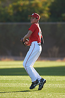 Joshua Lizarraga (44), from Moreno Valley, California, while playing for the Cardinals during the Under Armour Baseball Factory Recruiting Classic at Gene Autry Park on December 27, 2017 in Mesa, Arizona. (Zachary Lucy/Four Seam Images)