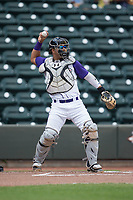 Winston-Salem Dash catcher Daniel Gonzalez (13) throws the ball back to his pitcher during the game against the Buies Creek Astros at BB&T Ballpark on April 16, 2017 in Winston-Salem, North Carolina.  The Dash defeated the Astros 6-2.  (Brian Westerholt/Four Seam Images)