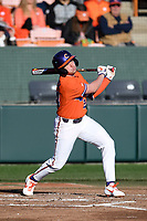 Second baseman Mac Starbuck (24) of the Clemson Tigers bats against the Stony Brook Seawolves on Friday, February 21, 2020, at Doug Kingsmore Stadium in Clemson, South Carolina. Clemson won, 2-0. (Tom Priddy/Four Seam Images)
