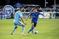 SAN JOSE, CA - MAY 22: Eric Remedi #5 of the San Jose Earthquakes dribbles the ball during a game between San Jose Earthquakes and Sporting Kansas City at PayPal Park on May 22, 2021 in San Jose, California.