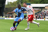 Nathan Ashton of Wycombe Wanderers, former Charlton and Fulham player who represented England at U19 level, tries to shake off a challenge from Lincoln's Paul Green during Wycombe Wanderers vs Lincoln City, Coca Cola League Division Two Football at Adams Park on 23rd August 2008