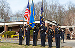 WATERTOWN, CT-123020JS08- The Watertown Police Honor Guard stands outside during a send-off parade and ceremony in honor of Watertown Police Chief John Gavallas Wednesday at the Watertown Police Department. Chief Gavallas has served for 51 years. <br /> Jim Shannon Republican-American