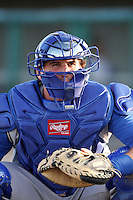 Pratt Maynard #43 of the Rancho Cucamonga Quakes catches in the bullpen before a game against the Lancaster JetHawks at Clear Channel Stadium on August 22, 2012 in Lancaster, California. Rancho Cucamonga defeated Lancaster 8-7. (Larry Goren/Four Seam Images)