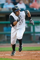 Louisville shortstop Pedro Lopez (27) hustles down the first base line versus Charlotte at Louisville Slugger Field in Louisville, KY, Tuesday, June 5, 2007.