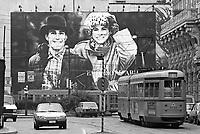 . Milan, Armani advertising in downtown (October 1988)....- Milano, pubblicità Armani in via Cusani  (ottobre 1988)....