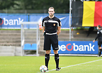 referee Tom Stevens pictured during a friendly soccer game between the national teams Under19 Youth teams of Belgium and Germany on tuesday 8 th of September 2020  in Genk , Belgium . PHOTO SPORTPIX.BE | SPP | DAVID CATRY