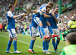 Celtic v St Johnstone …26.08.17… Celtic Park… SPFL<br />Steven MacLean is mobbed by his teammates as he celebrates his goal<br />Picture by Graeme Hart.<br />Copyright Perthshire Picture Agency<br />Tel: 01738 623350  Mobile: 07990 594431