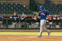 AZL Rangers catcher David Garcia (9) kisses his hand as he crosses home plate after hitting a home run during an Arizona League game against the AZL Giants Black at Scottsdale Stadium on August 4, 2018 in Scottsdale, Arizona. The AZL Giants Black defeated the AZL Rangers by a score of 6-3 in the second game of a doubleheader. (Zachary Lucy/Four Seam Images)