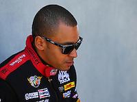 June 1, 2014; Englishtown, NJ, USA; NHRA top fuel driver J.R. Todd during qualifying for the Summernationals at Raceway Park. Mandatory Credit: Mark J. Rebilas-