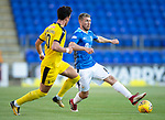 St Johnstone v Falkirk…24.07.18…  McDiarmid Park    Betfred Cup<br />David Wotherspoon is closed down by Tom Owen-Evans<br />Picture by Graeme Hart. <br />Copyright Perthshire Picture Agency<br />Tel: 01738 623350  Mobile: 07990 594431
