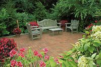 Furniture on brick patio