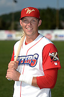 Williamsport Crosscutters first baseman Rhys Hoskins (12) poses for a photo before a game against the Aberdeen IronBirds on August 4, 2014 at Bowman Field in Williamsport, Pennsylvania.  Aberdeen defeated Williamsport 6-3.  (Mike Janes/Four Seam Images)