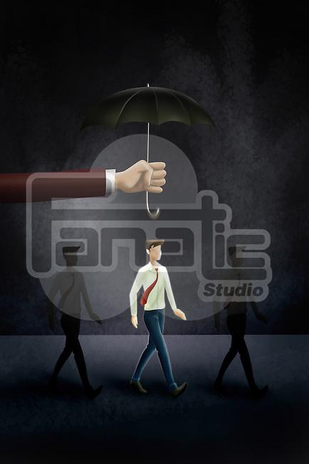 Illustrative image of hand holding an umbrella above businessman representing life insurance