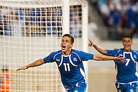 El Salvador forward Rodolfo Zelaya (11) celebrates scoring during a CONCACAF Gold Cup group B match at Red Bull Arena in Harrison, NJ, on July 8, 2013.